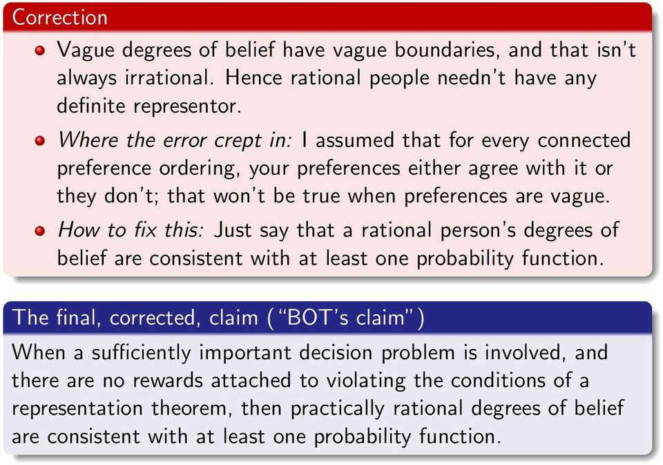 How to fix this: Just say that a rational person s degrees of belief are consistent with at least one probability function.