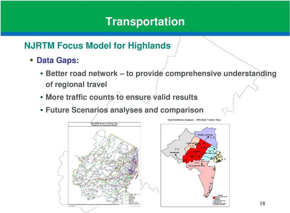 understanding of regional travel More traffic counts to