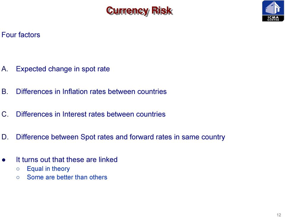Differences in Interest rates between countries D.