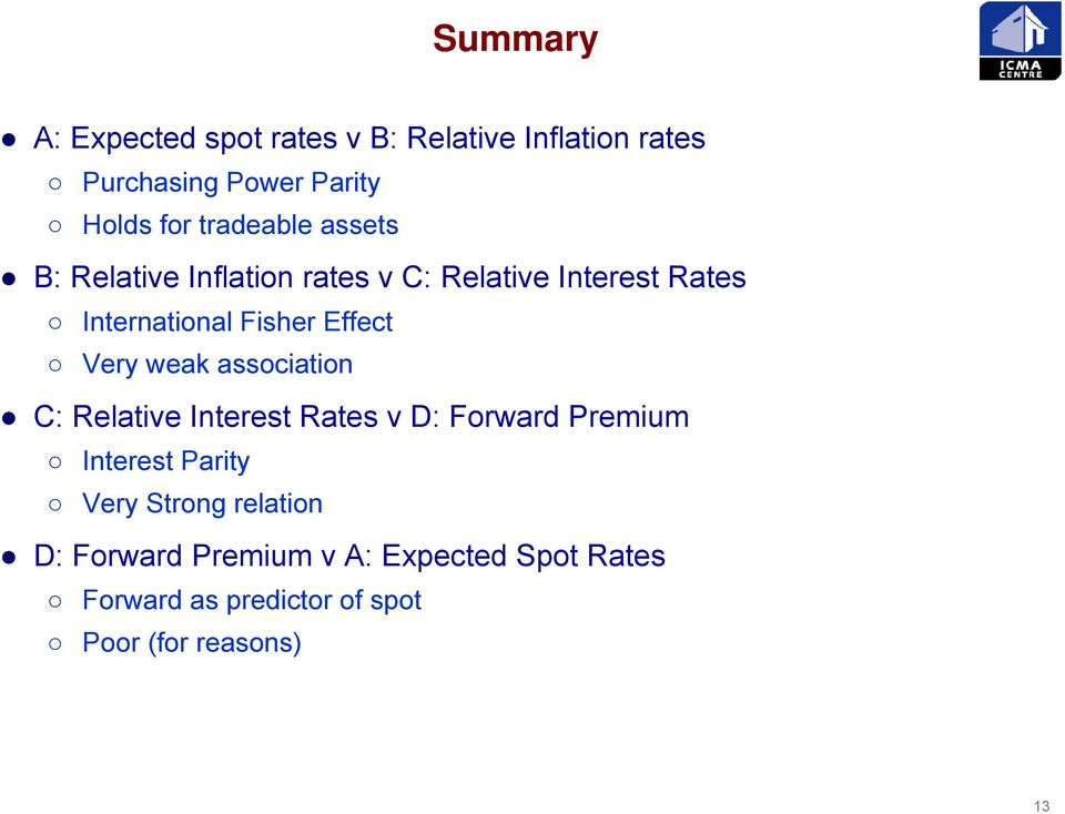 Effect Very weak association C: Relative Interest Rates v D: Forward Premium Interest Parity Very