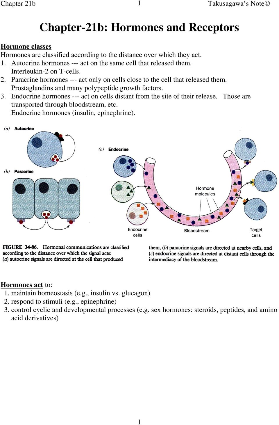 Prostaglandins and many polypeptide growth factors. 3. Endocrine hormones --- act on cells distant from the site of their release. Those are transported through bloodstream, etc.