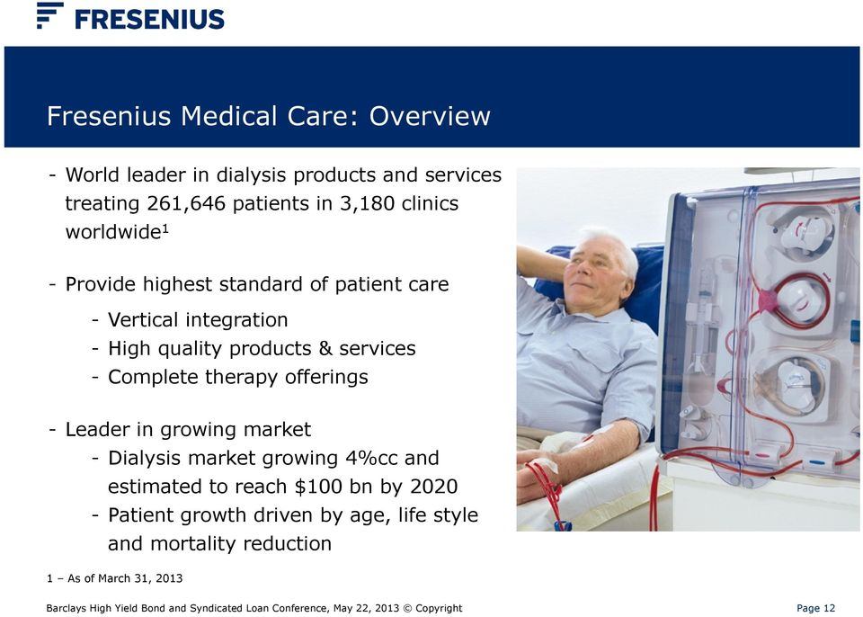 Leader in growing market - Dialysis market growing 4%cc and estimated to reach $100 bn by 2020 - Patient growth driven by age, life