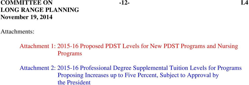 2015-16 Professional Degree Supplemental Tuition Levels for Programs