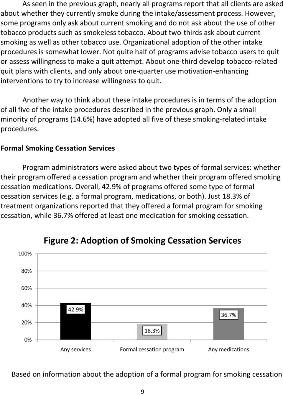 About two thirds ask about current smoking as well as other tobacco use. Organizational adoption of the other intake procedures is somewhat lower.