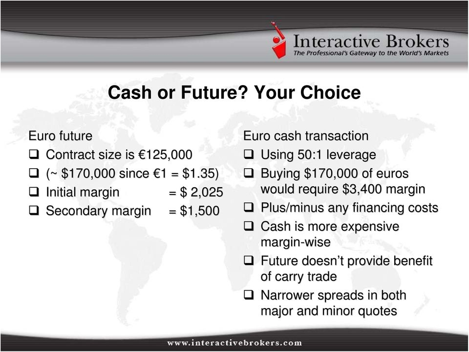 Buying $170,000 of euros would require $3,400 margin Plus/minus any financing costs Cash is more