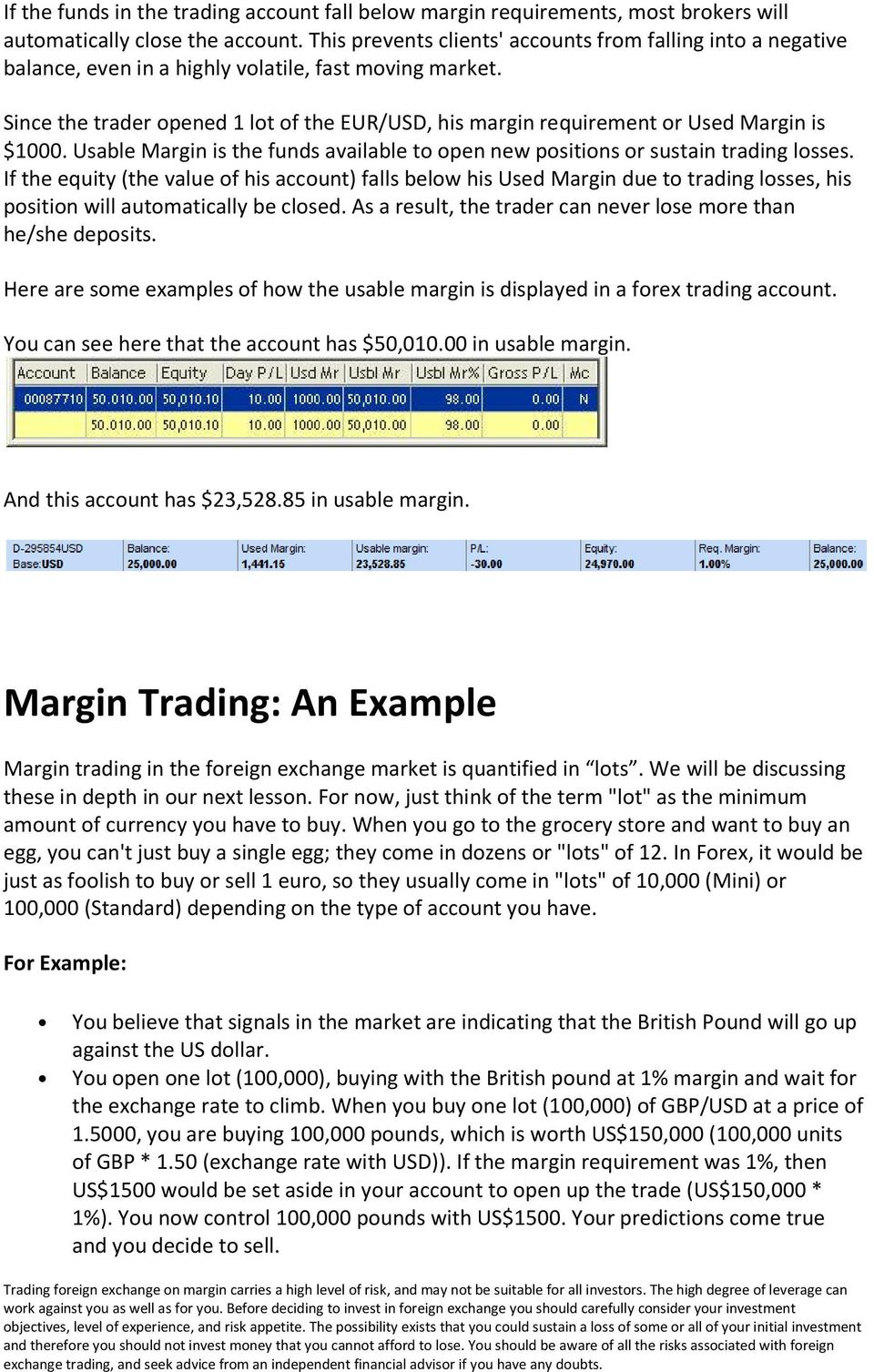 Since the trader opened 1 lot of the EUR/USD, his margin requirement or Used Margin is $1000. Usable Margin is the funds available to open new positions or sustain trading losses.