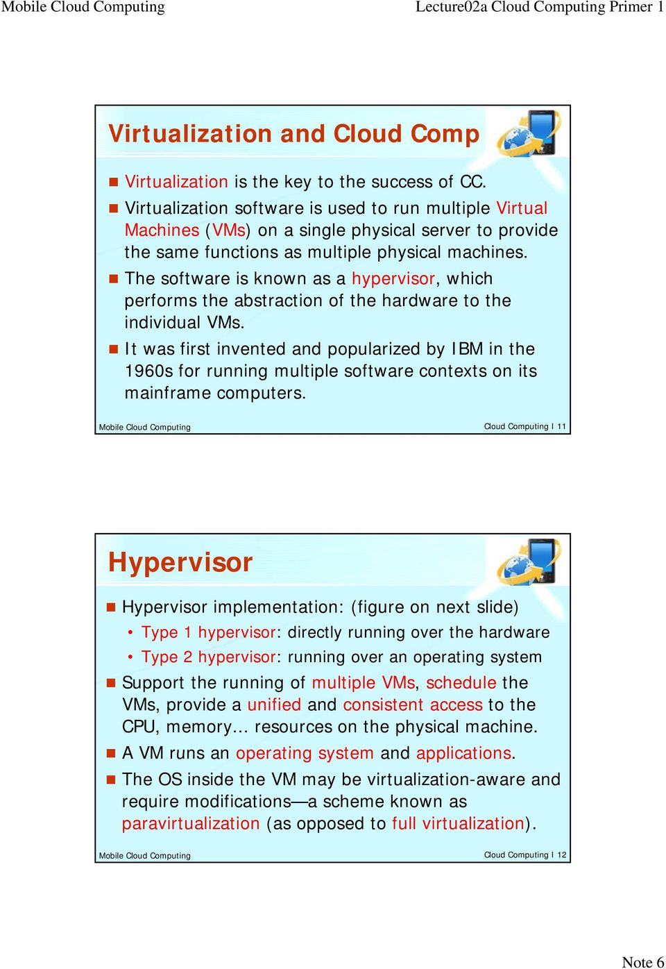 The software is known as a hypervisor, which performs the abstraction of the hardware to the individual VMs.