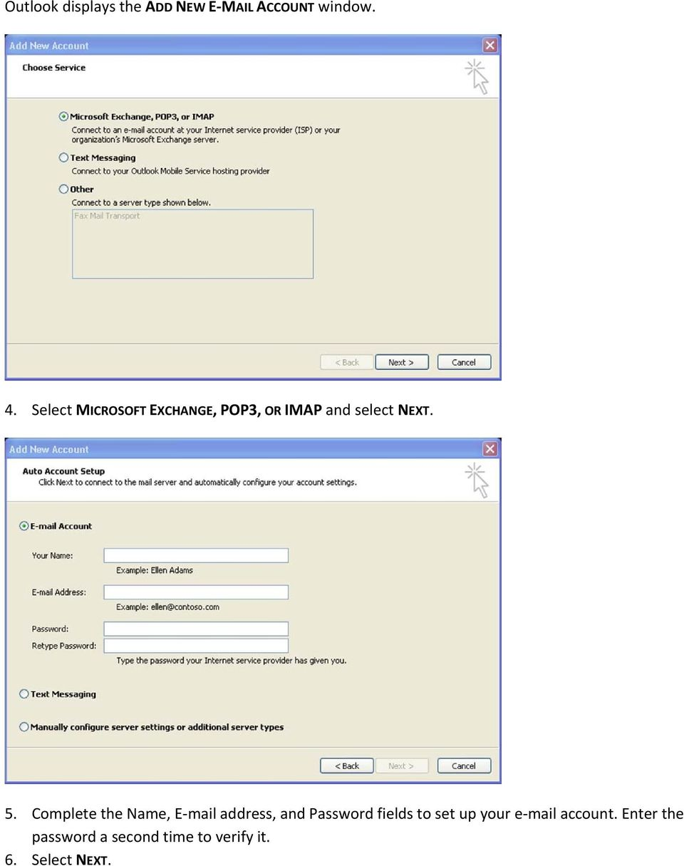 Complete the Name, E mail address, and Password fields to set up