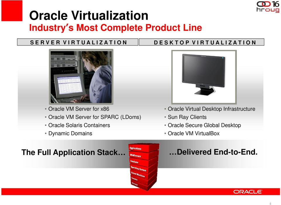 (LDoms) Oracle Solaris Containers Dynamic Domains Oracle Virtual Desktop Infrastructure Sun Ray
