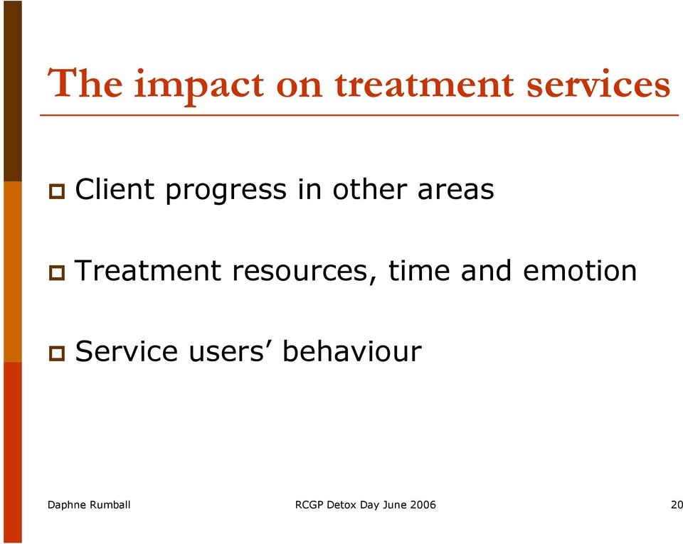 resources, time and emotion Service users