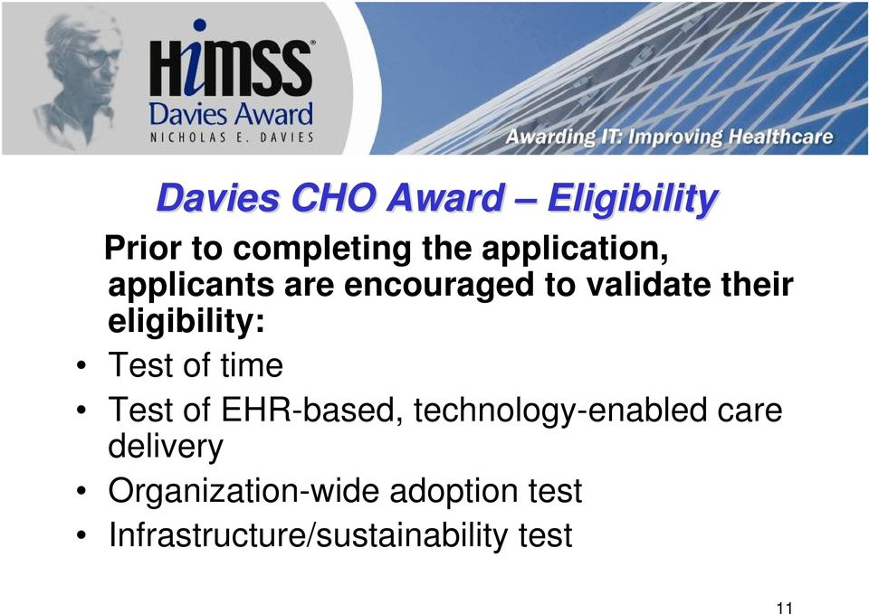 eligibility: Test of time Test of EHR-based, technology-enabled