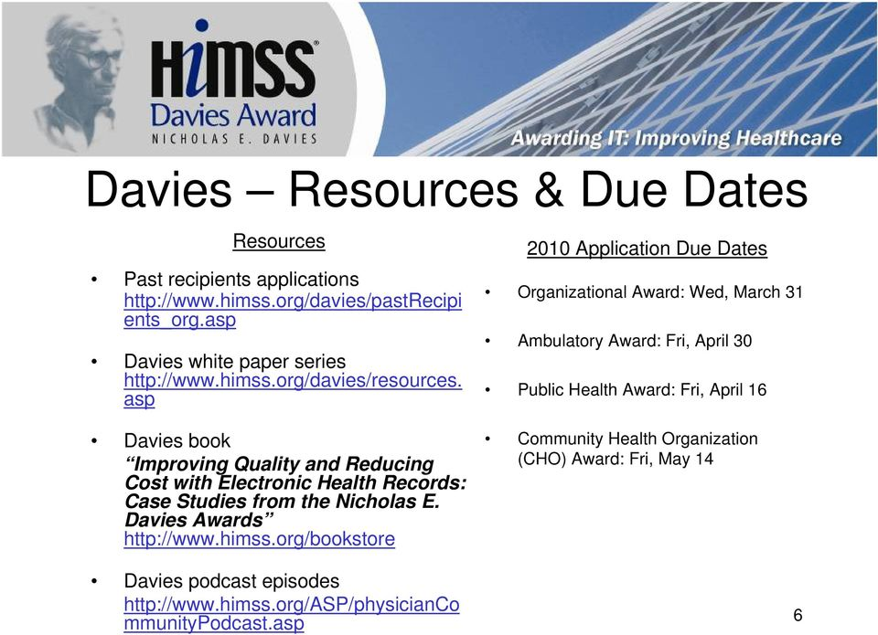 asp Davies book Improving Quality and Reducing Cost with Electronic Health Records: Case Studies from the Nicholas E. Davies Awards http://www.himss.