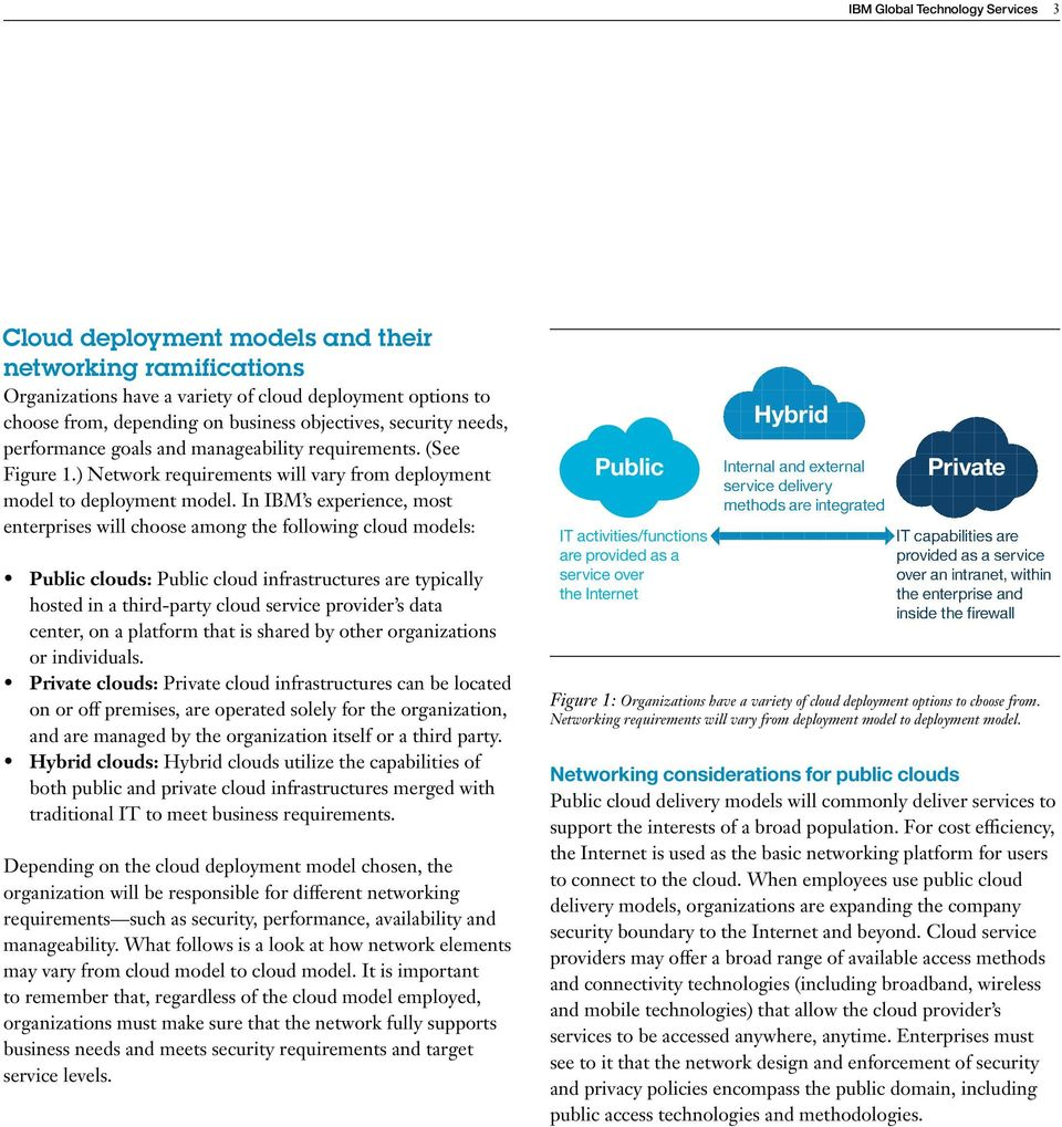 In IBM s experience, most enterprises will choose among the following cloud models: Public clouds: Public cloud infrastructures are typically hosted in a third-party cloud service provider s data