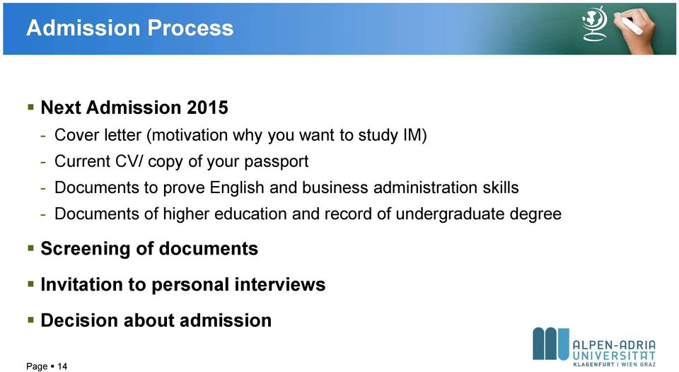 administration skills - Documents of higher education and record of undergraduate