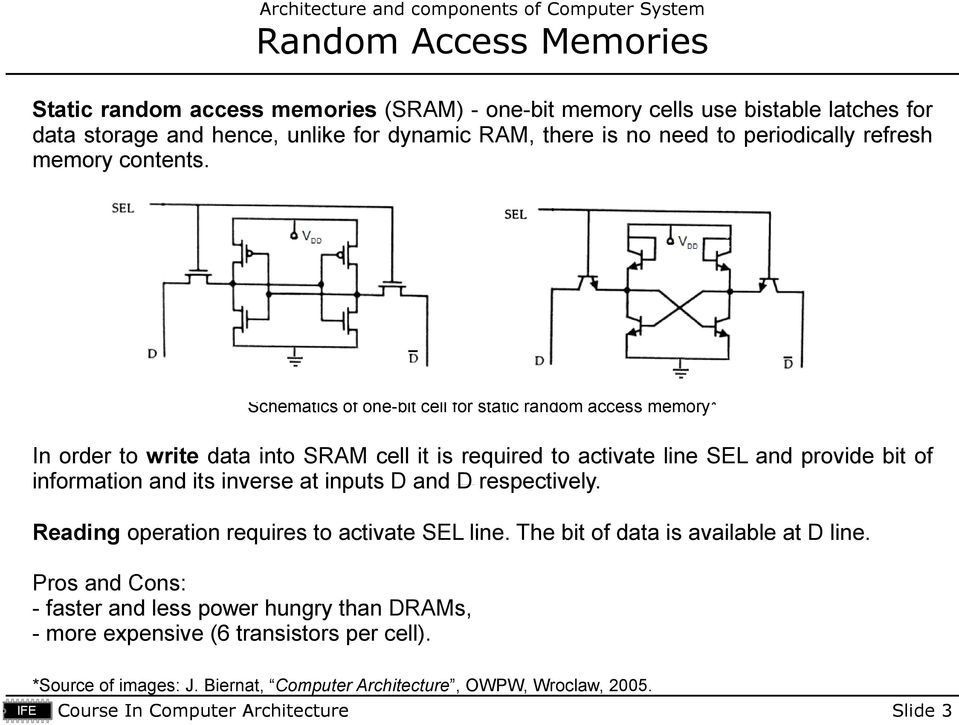 Schematics of one-bit cell for static random access memory* In order to write data into SRAM cell it is required to activate line SEL and provide bit of information and its