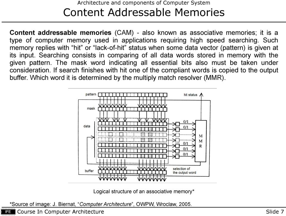 Searching consists in comparing of all data words stored in memory with the given pattern. The mask word indicating all essential bits also must be taken under consideration.