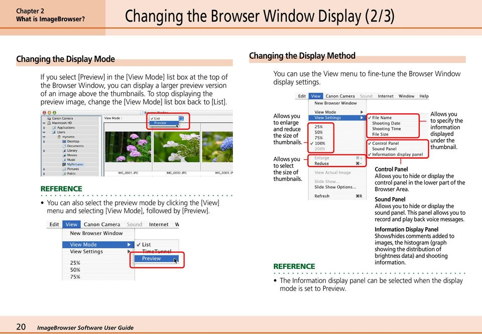 an image above the thumbnails. To stop displaying the preview image, change the [View Mode] list box back to [List].