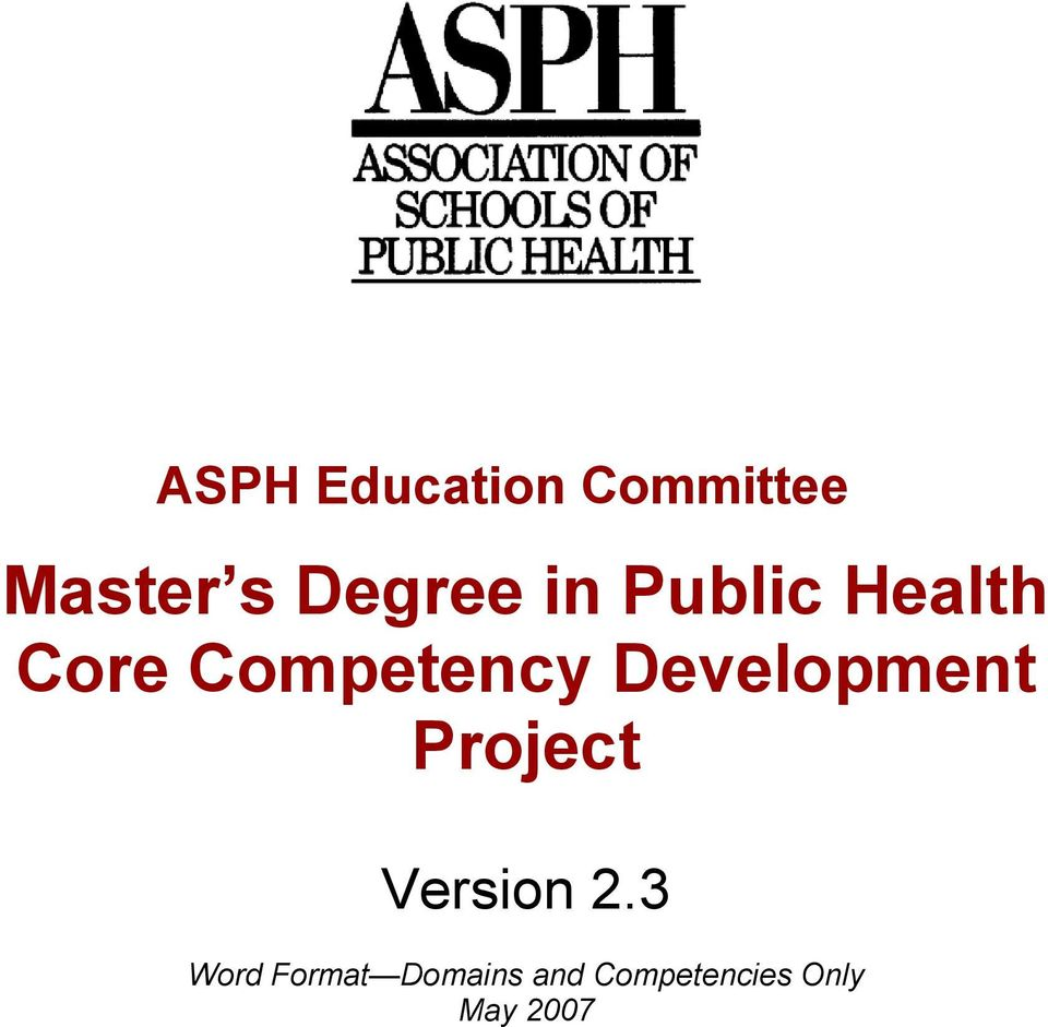Competency Development Project Version