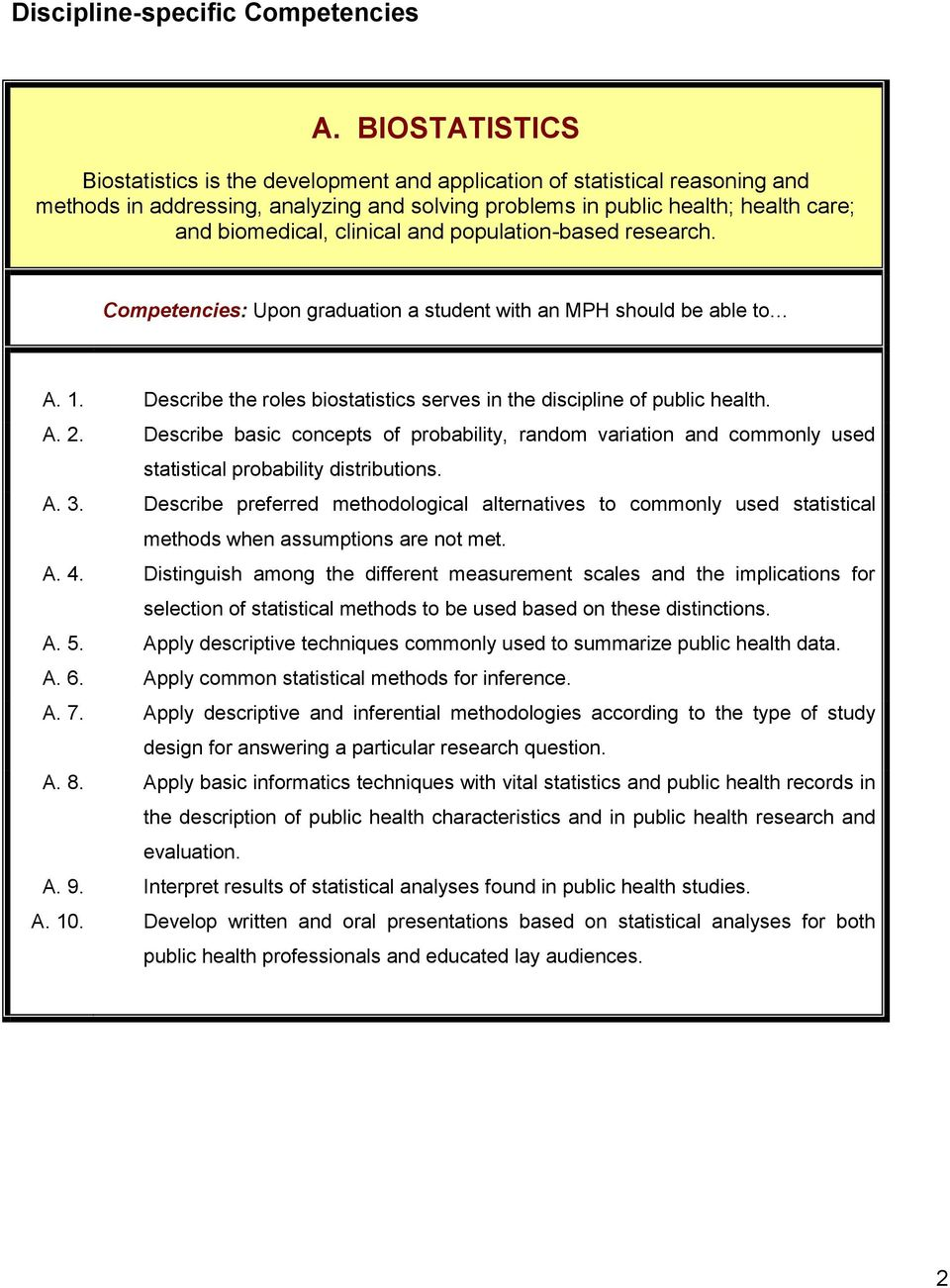 clinical and population-based research. Competencies: Upon graduation a student with an MPH should be able to A. 1. Describe the roles biostatistics serves in the discipline of public health. A. 2.