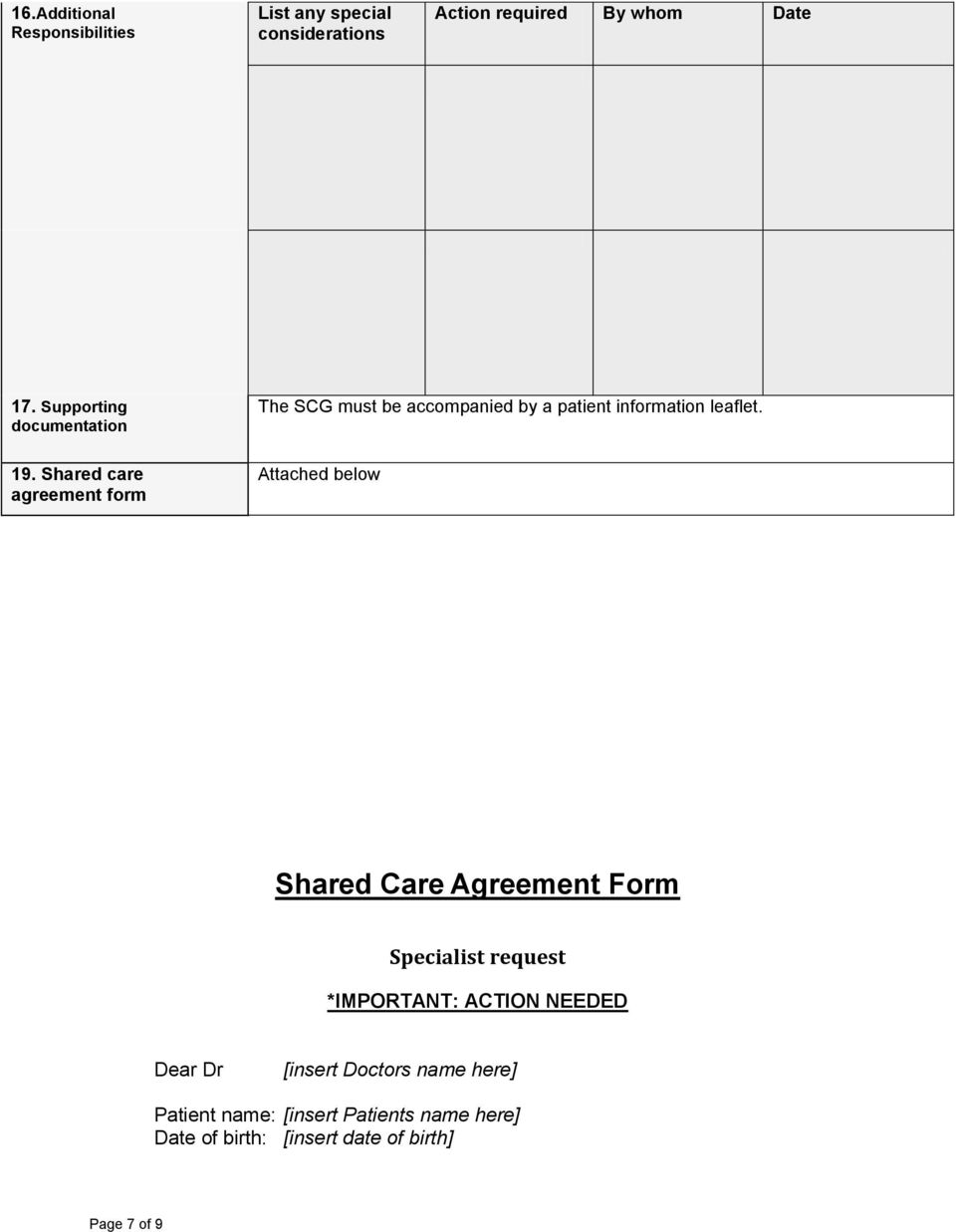 Shared care agreement form Attached below Shared Care Agreement Form Specialist request *IMPORTANT: ACTION