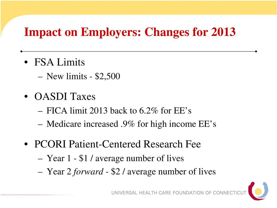 9% for high income EE s PCORI Patient-Centered Research Fee Year 1 -
