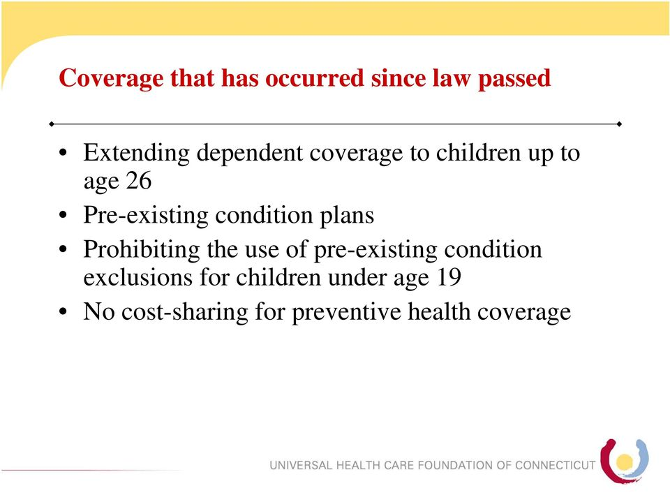 Prohibiting the use of pre-existing condition exclusions for