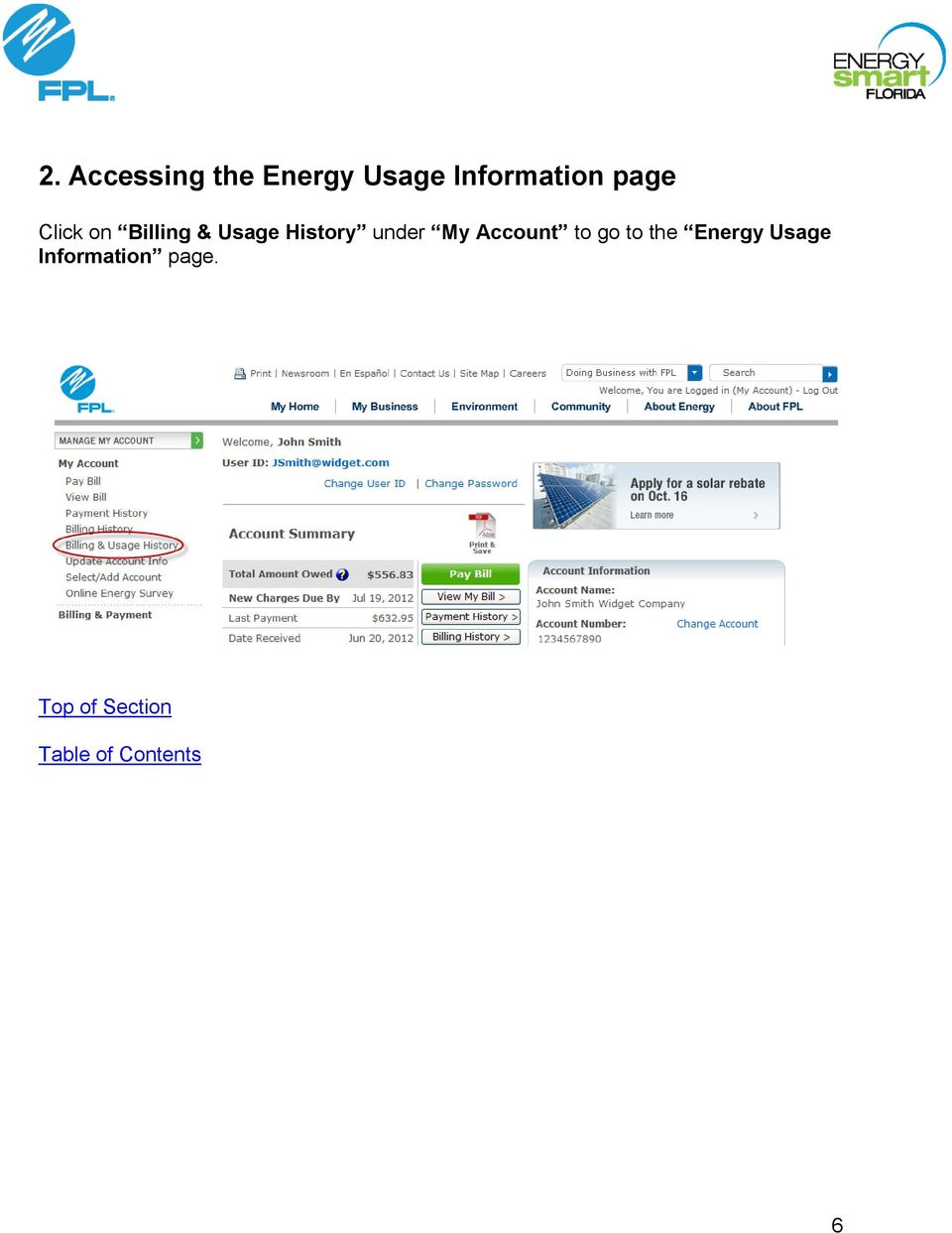 My Account to go to the Energy Usage