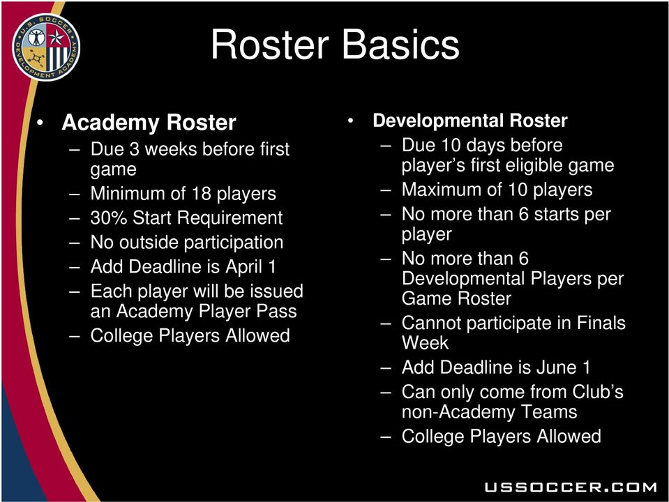 before player s first eligible game Maximum of 10 players No more than 6 starts per player No more than 6 Developmental Players per