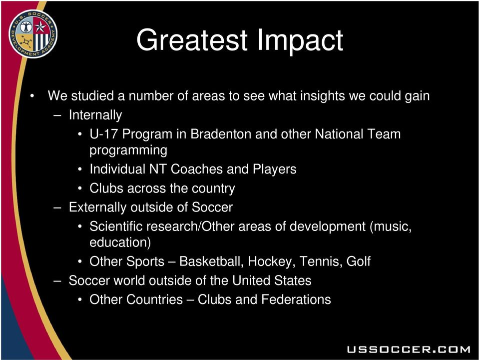 Externally outside of Soccer Scientific research/other areas of development (music, education) Other Sports