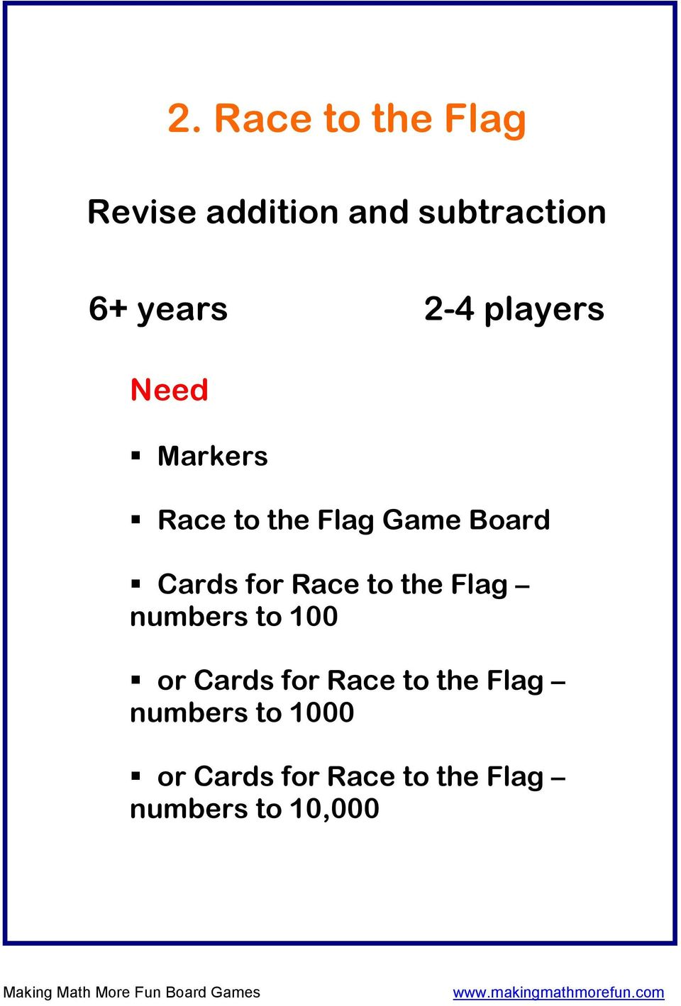 Race to the Flag numbers to 100 or Cards for Race to the Flag