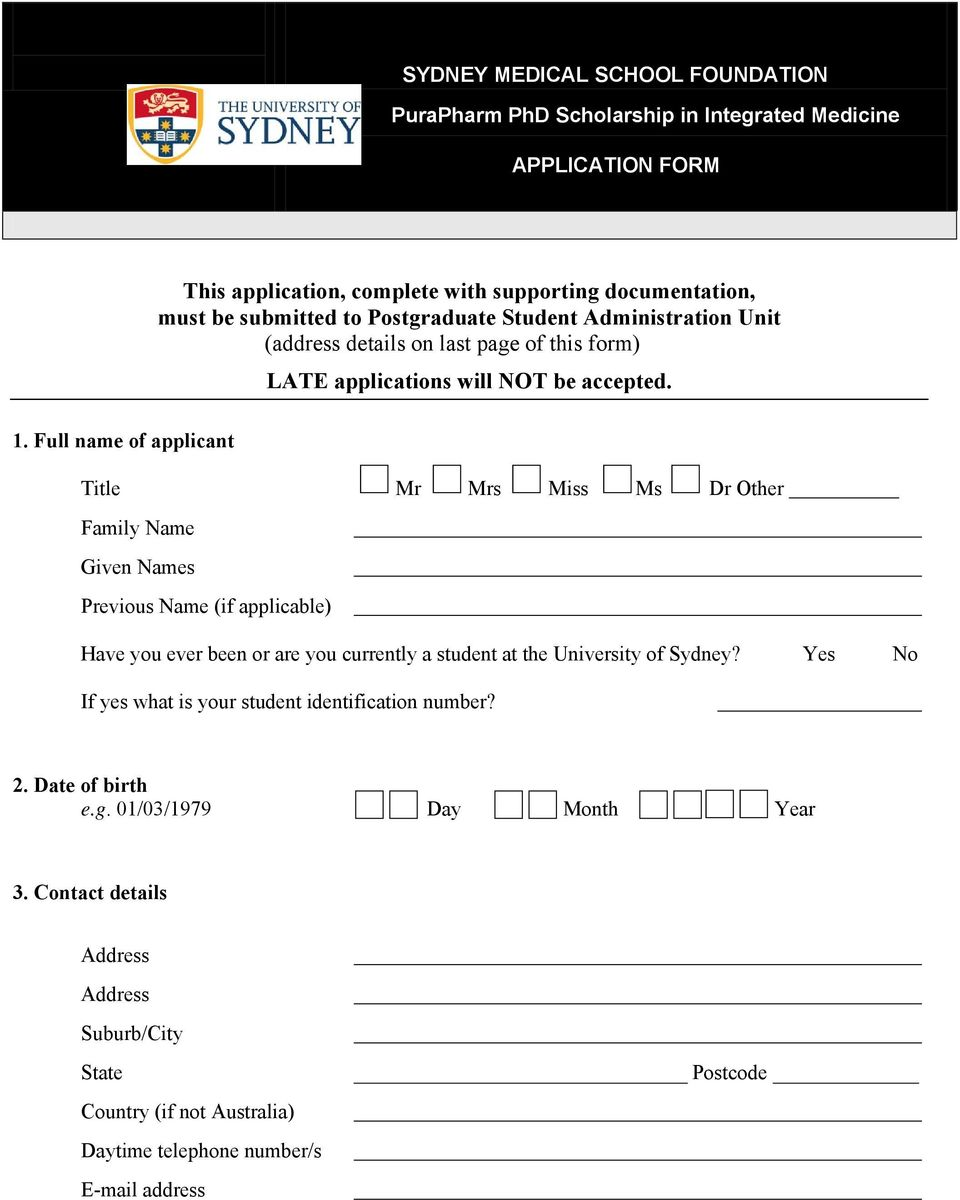this form) LATE applications will NOT be accepted.