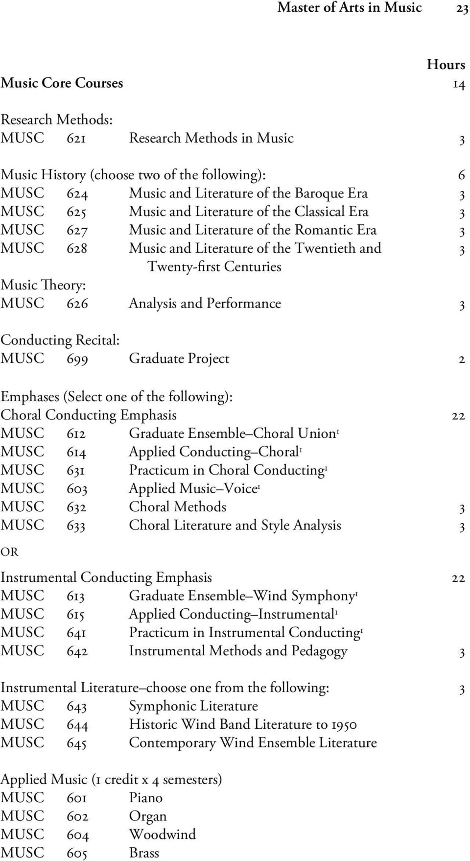 MUSC 626 Analysis and Performance 3 Conducting Recital: MUSC 699 Graduate Project 2 Emphases (Select one of the following): Choral Conducting Emphasis 22 MUSC 612 Graduate Ensemble Choral Union 1