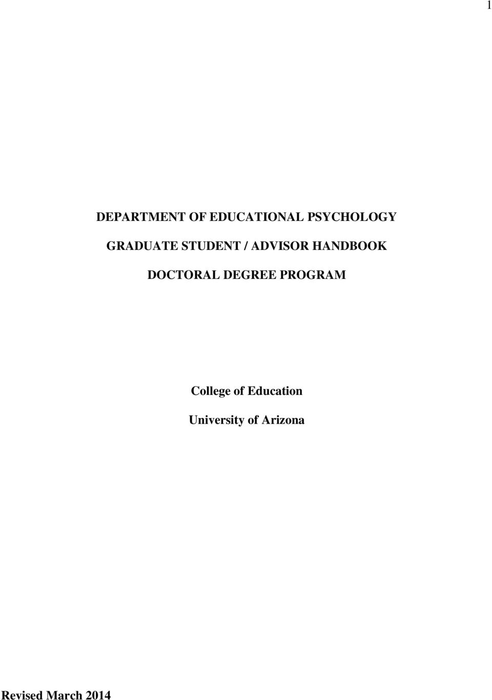 DOCTORAL DEGREE PROGRAM College of