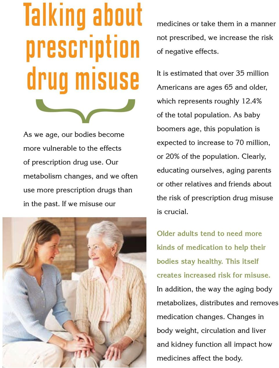 Our metabolism changes, and we often use more prescription drugs than in the past. If we misuse our boomers age, this population is expected to increase to 70 million, or 20% of the population.
