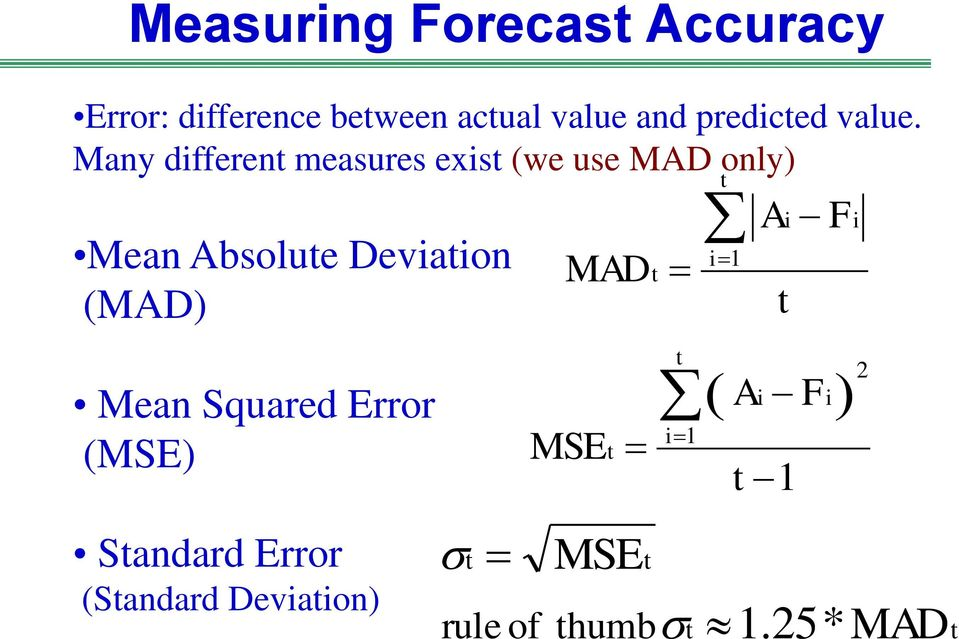 Many different measures exist (we use MAD only) Mean Absolute Deviation (MAD)