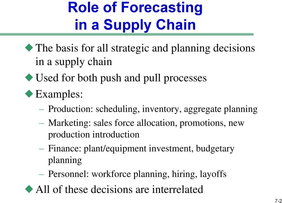 Marketing: sales force allocation, promotions, new production introduction Finance: plant/equipment