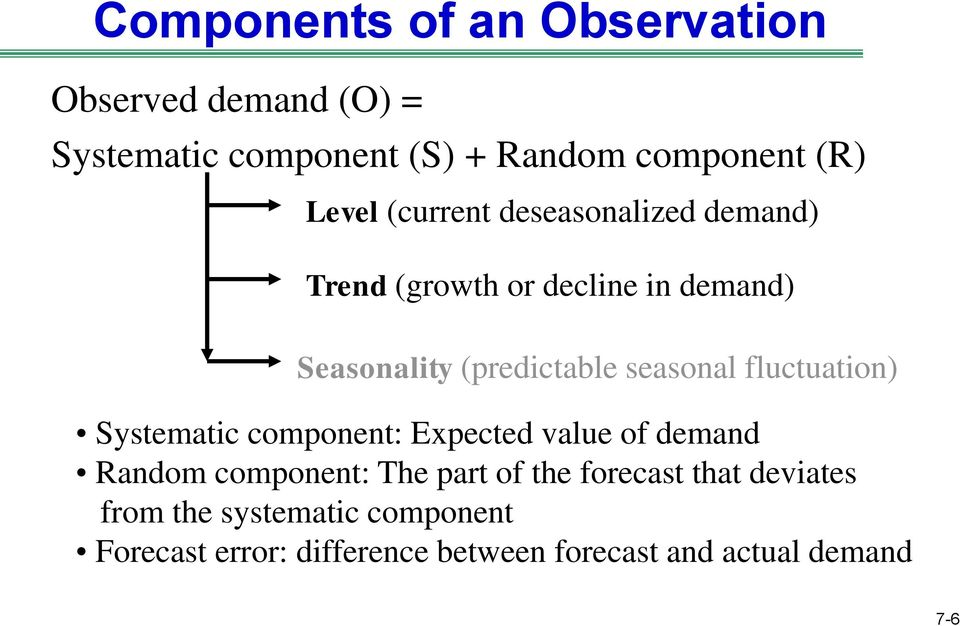 fluctuation) Systematic component: Expected value of demand Random component: The part of the forecast