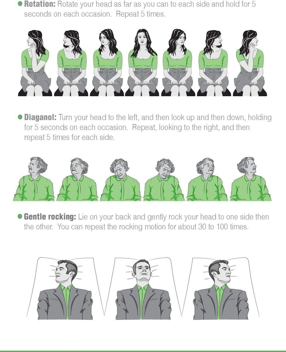 Diaganol: Turn your head to the left, and then look up and then down, holding for 5 seconds on each occasion.
