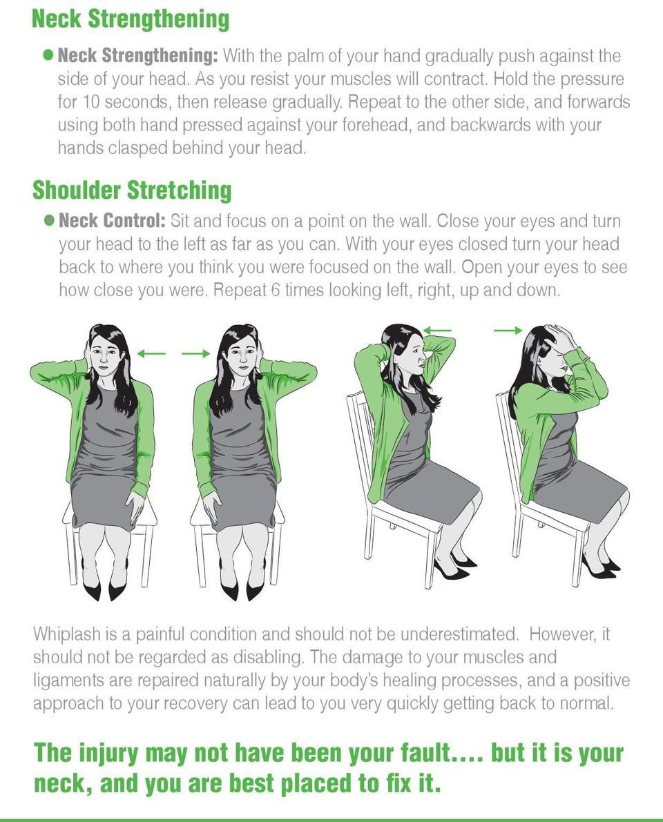 Shoulder Stretching Neck Control: Sit and focus on a point on the wall. Close your eyes and turn your head to the left as far as you can.