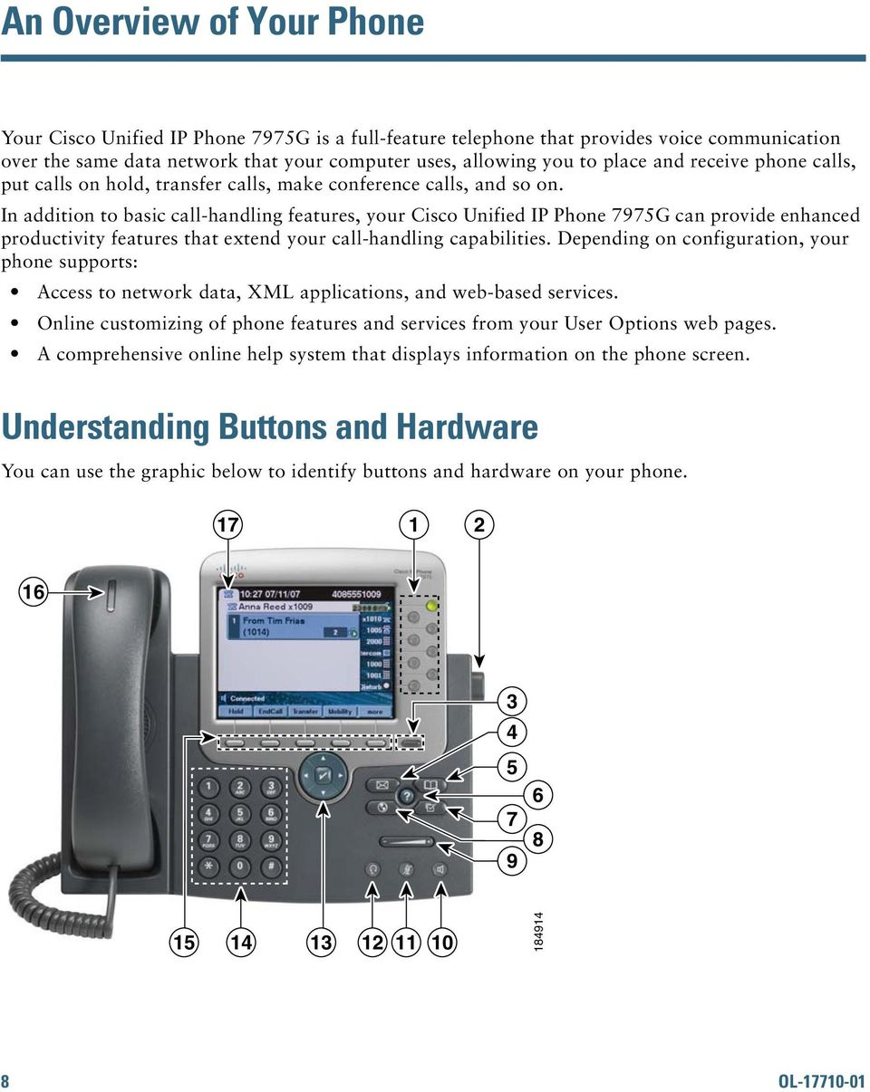 In addition to basic call-handling features, your Cisco Unified IP Phone 7975G can provide enhanced productivity features that extend your call-handling capabilities.