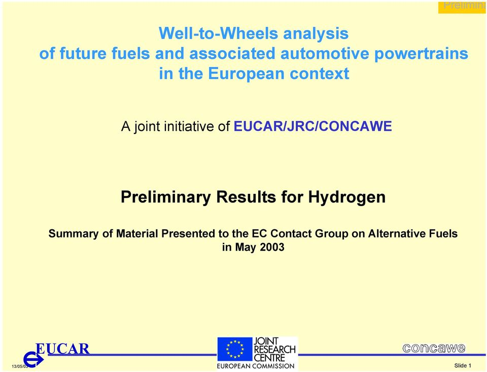 initiative of /JRC/CONCAWE ry Results for Hydrogen Summary of
