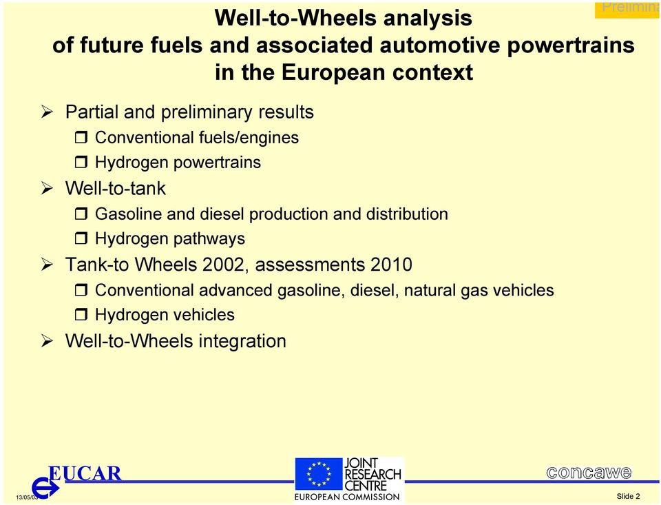 and diesel production and distribution Hydrogen pathways Tank-to Wheels 2002, assessments 2010
