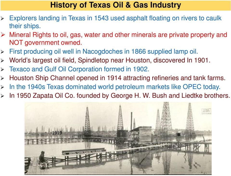 First producing oil well in Nacogdoches in 1866 supplied lamp oil. World s largest oil field, Spindletop near Houston, discovered In 1901.