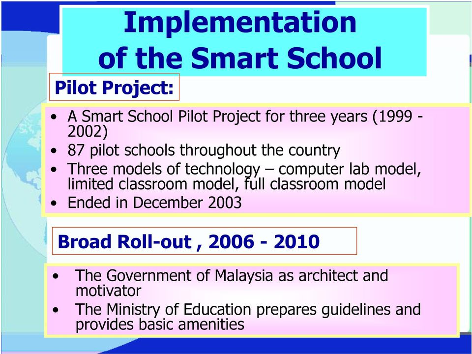 limited classroom model, full classroom model Ended in December 2003 Broad Roll-out, 2006-2010 The