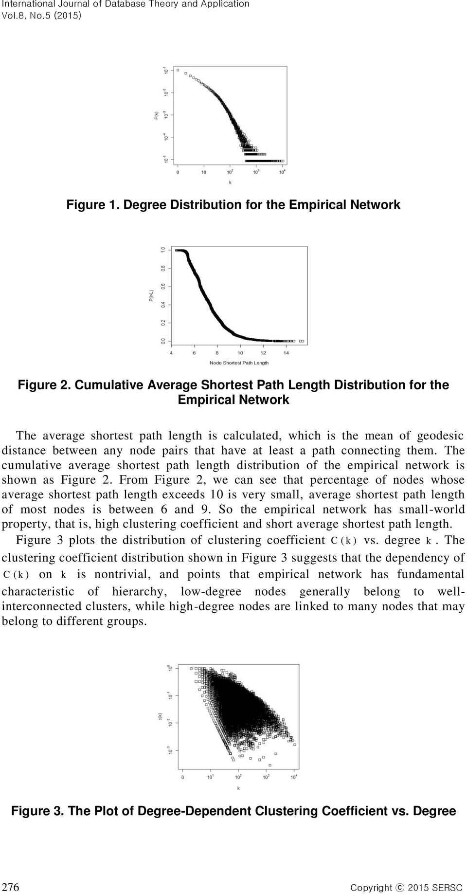 at least a path connecting them. The cumulative average shortest path length distribution of the empirical network is shown as Figure 2.