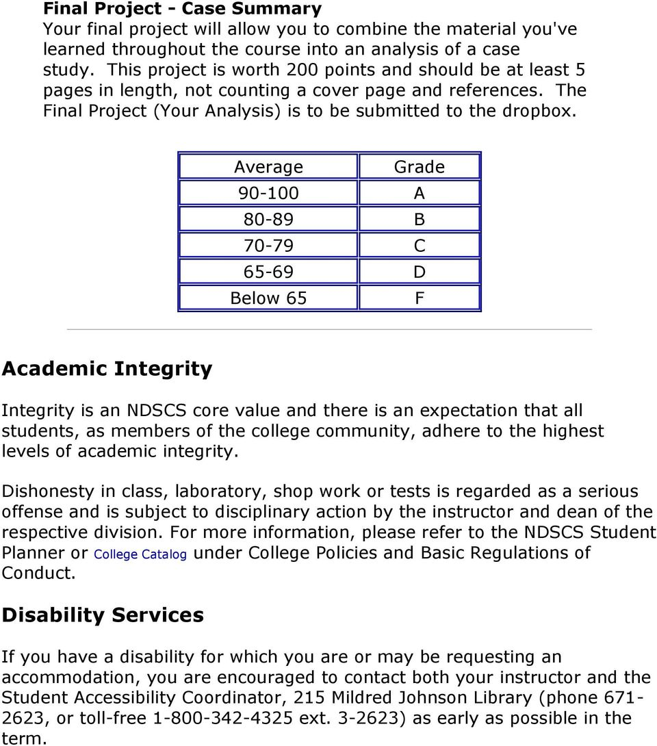 Average Grade 90-100 A 80-89 B 70-79 C 65-69 D Below 65 F Academic Integrity Integrity is an NDSCS core value and there is an expectation that all students, as members of the college community,