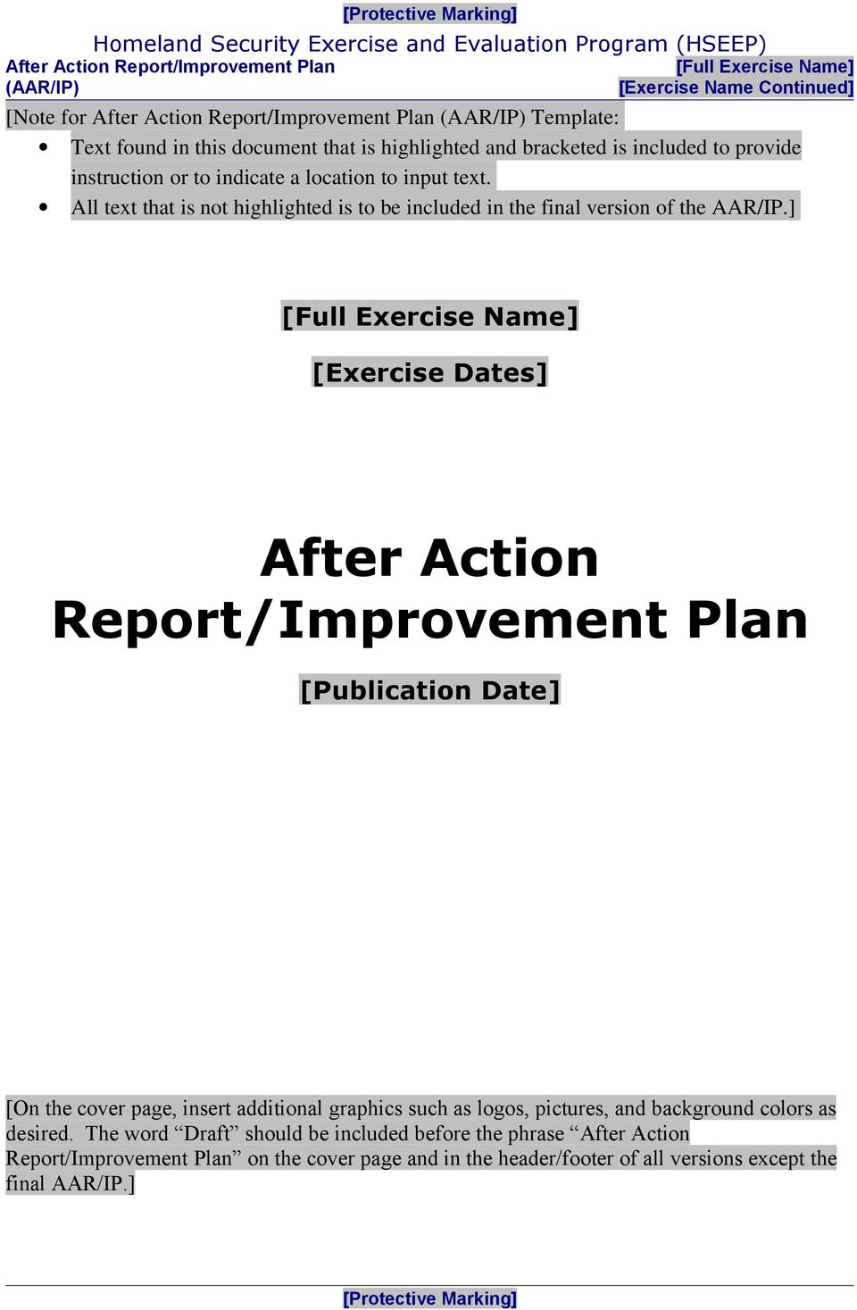 ] [Full Exercise Name] [Exercise Dates] After Action Report/Improvement Plan [Publication Date] [On the cover page, insert additional graphics such as logos,