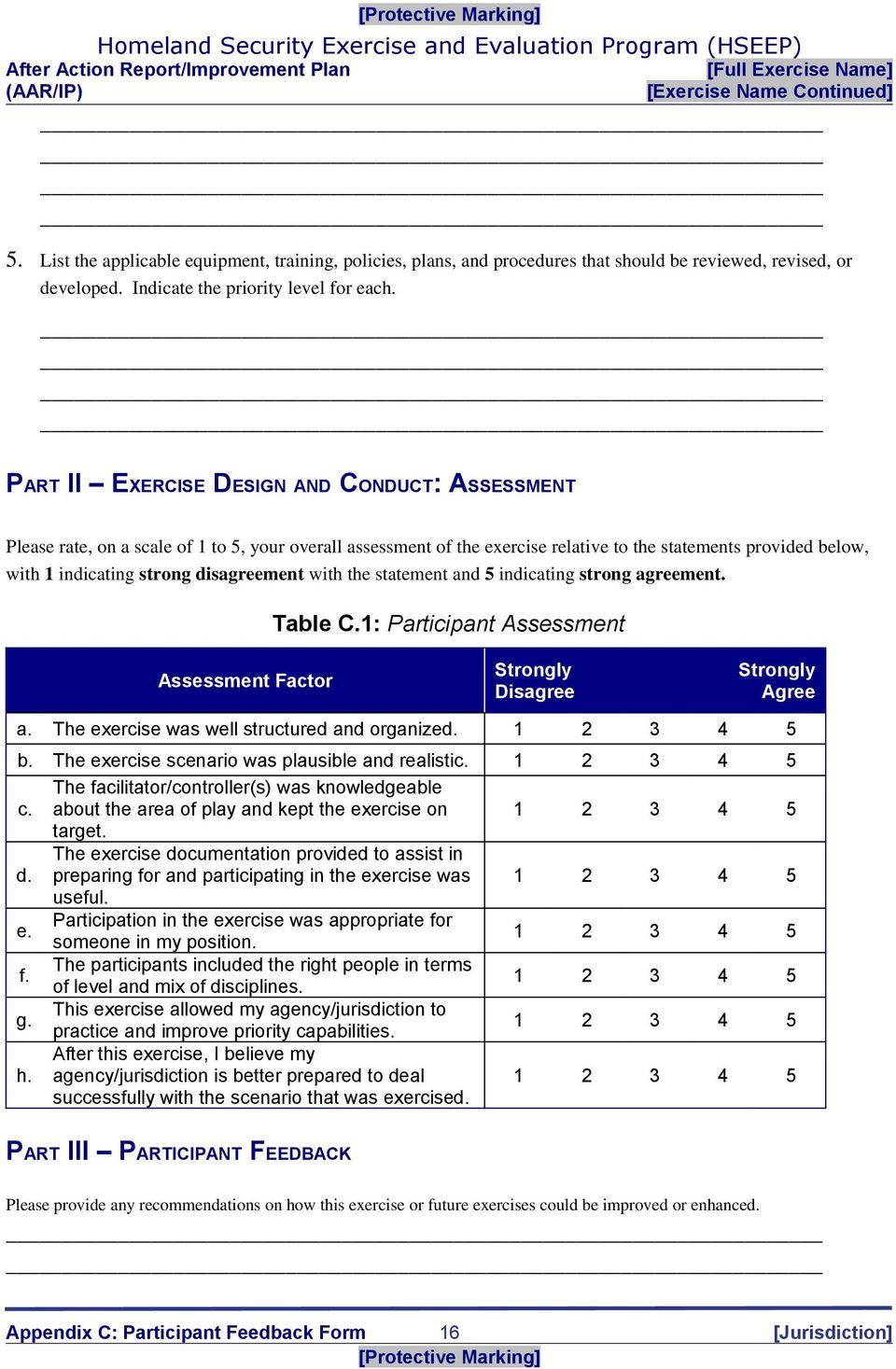 disagreement with the statement and 5 indicating strong agreement. Table C.1: Participant Assessment Assessment Factor Strongly Disagree Strongly Agree a.