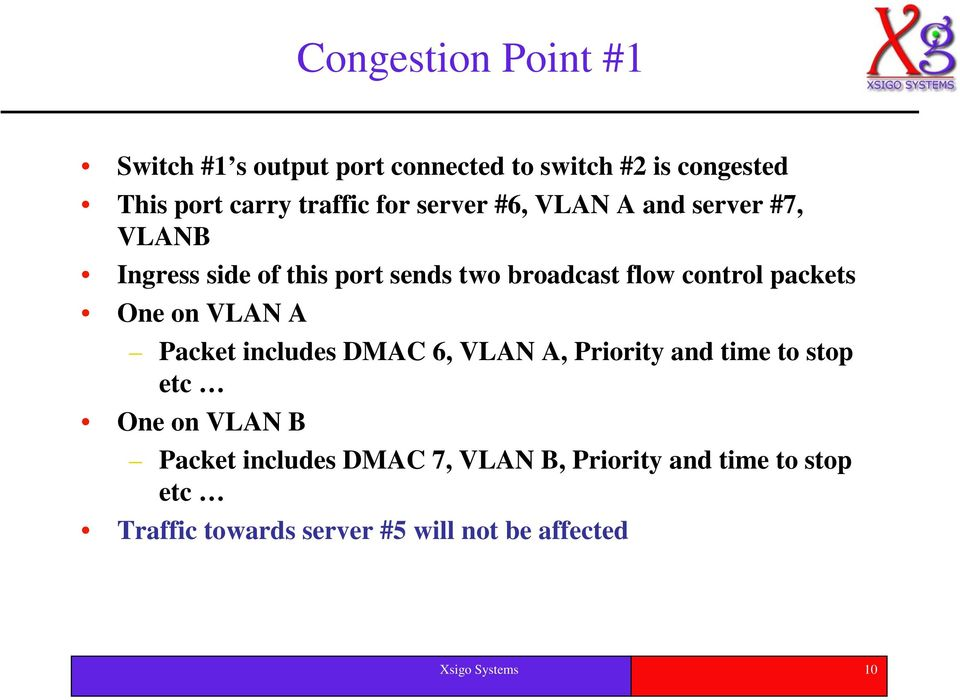 One on VLAN A Packet includes DMAC 6, VLAN A, Priority and time to stop etc One on VLAN B Packet includes