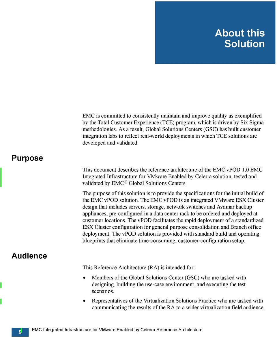 Purpose Audience This document describes the reference architecture of the EMC vpod 1.